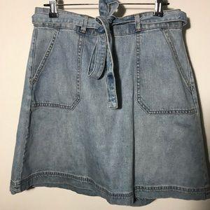 Gap Denim High Waisted Flare Skirt w/ Belt